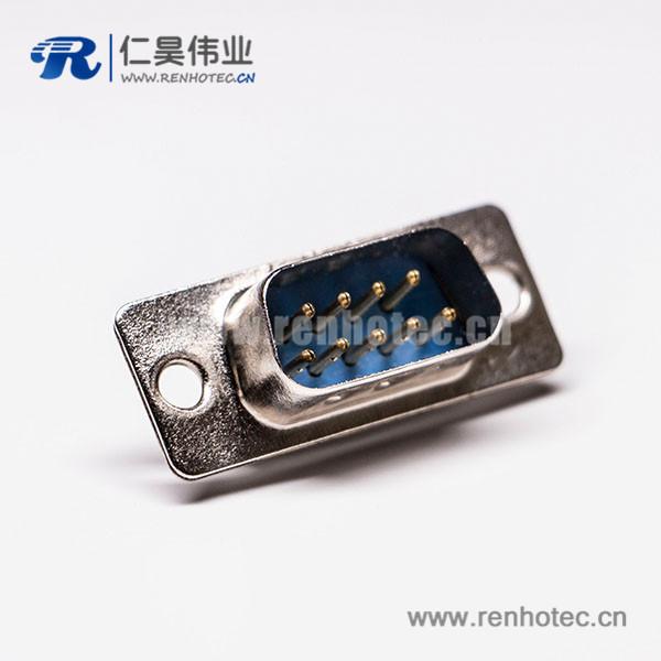 d-sub 9针(公)直式冲针接线焊接蓝胶