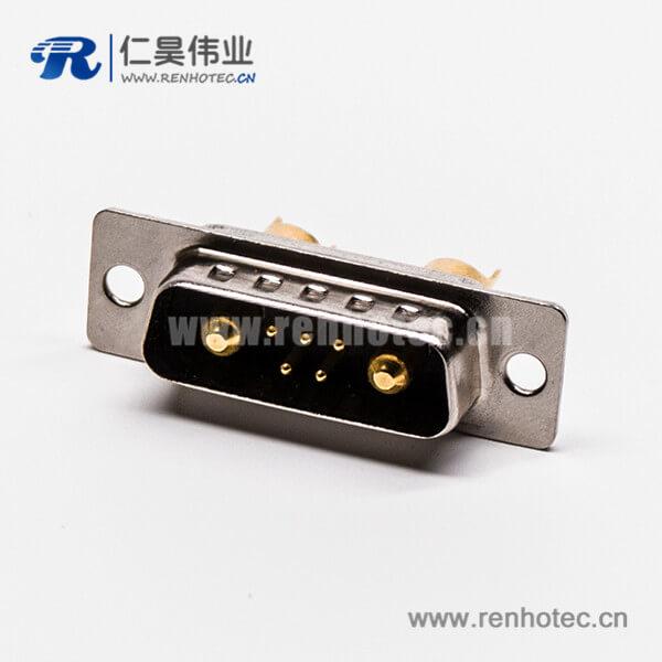 大电流 D SUB接口7W2焊线直式短体光孔铆合公头