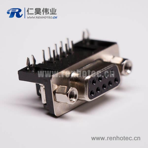 9pin D-sub母座弯头黑胶连接器穿孔接PCB板