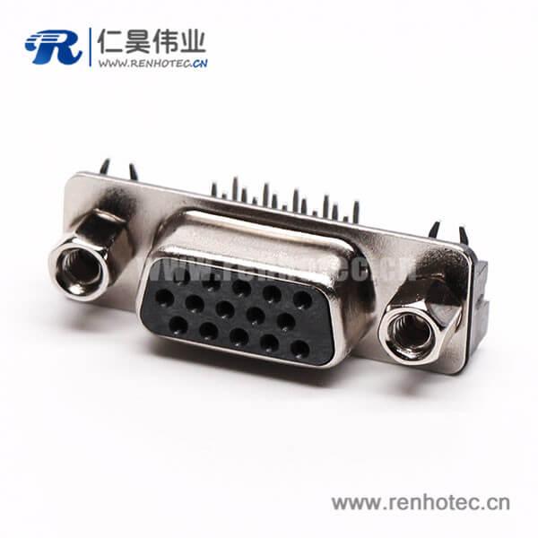 db15P三排母头弯脚高密度黑色胶芯插孔接PCB板