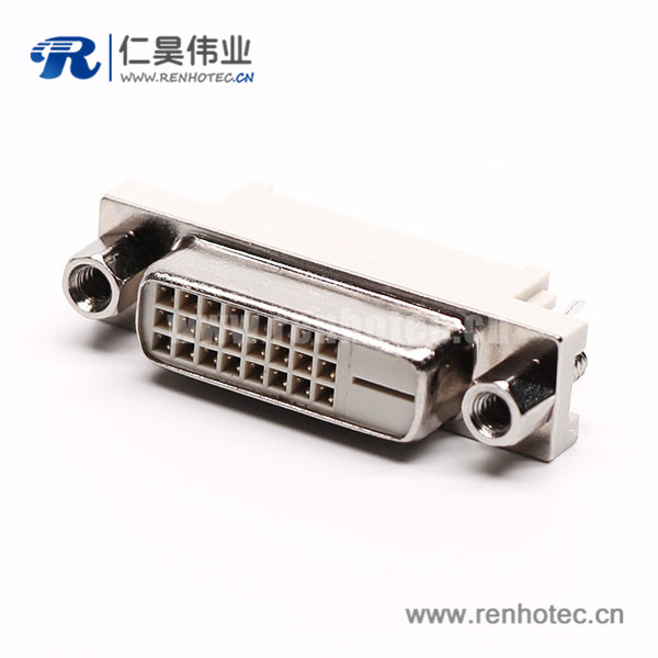 dvi-d连接器24+1母头直式带螺母穿孔接pcb板