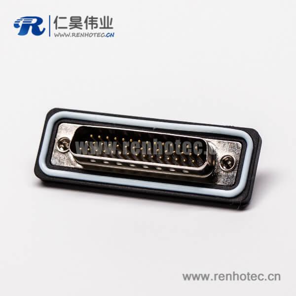 d-sub连接器44针三排防水公头直式接线焊接