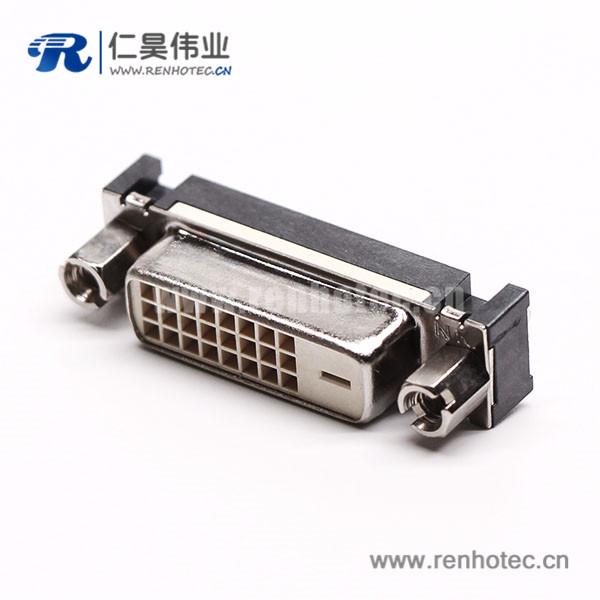 dvi接口连接器母头直式24+1带螺母穿孔接pcb板