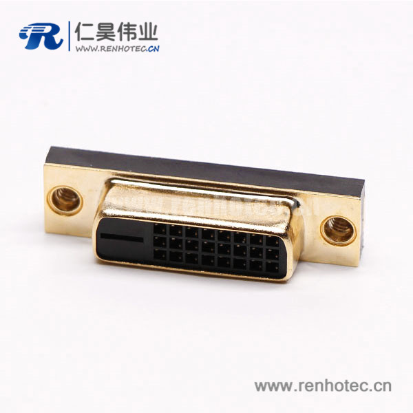 dvi-d母直式连接器24+1超薄镀金黑色胶芯子穿孔