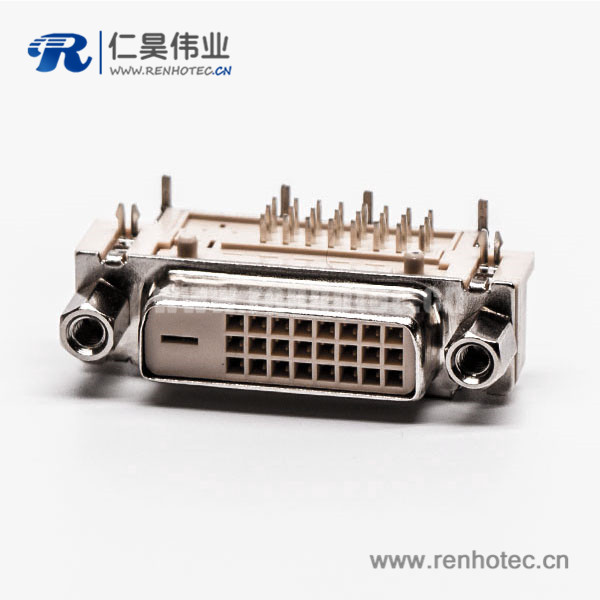 dvi弯座24+1d型连接器母头带螺母带鱼叉接PCB板