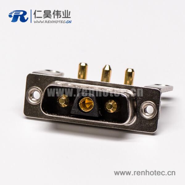 DB型大电流连接器3V3公座90°焊板 20A支架铆锁接PCB板