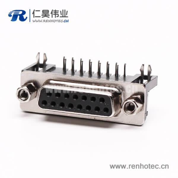 迷你 D Sub 15针弯式接PCB板铆锁焊板母座