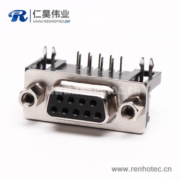 9针D Sub连接器弯式母头焊板铆锁接PCB板