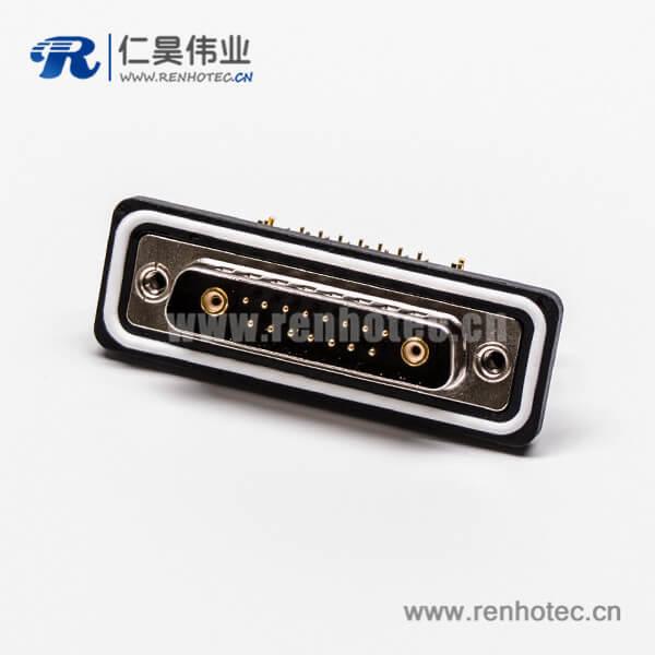 d-sub防水连接器17w2公头弯式车针同轴连接器接PCB板