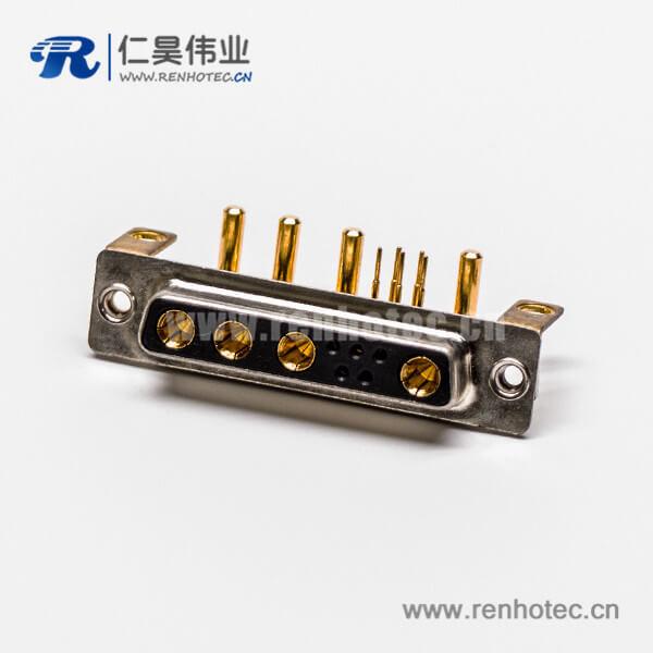 D SUB大电流连接器9W4弯式焊板带支架铆锁母座接PCB