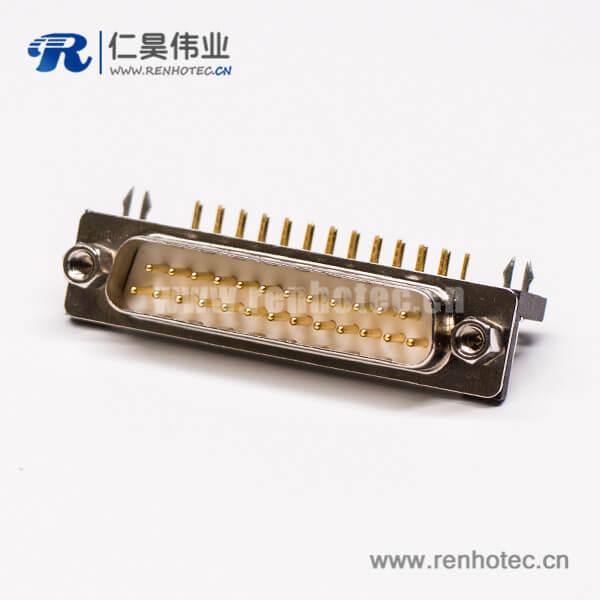 db25接口公头弯式塑料支架铆锁插孔接PCB板