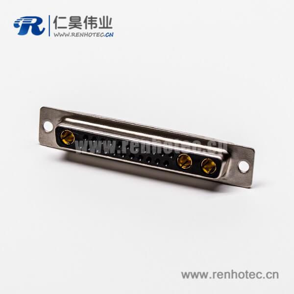 大电流连接器 D-SUB 25W3直式插孔光孔铆合母座接PCB