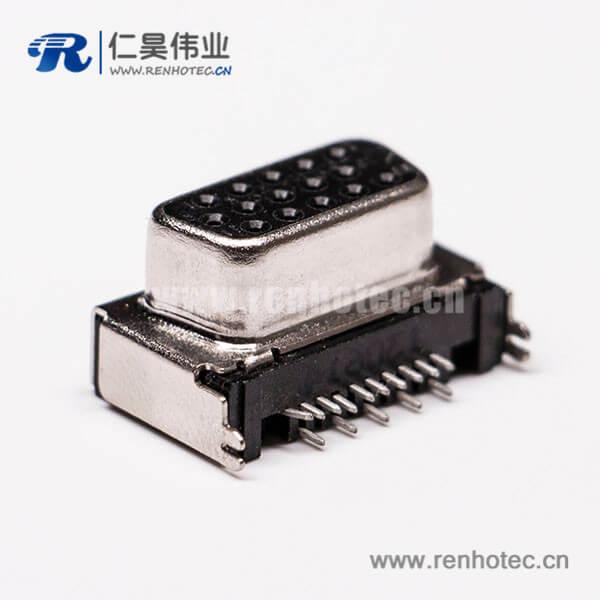 D sub接口15pin弯头母头插孔连接器黑胶接PCB板
