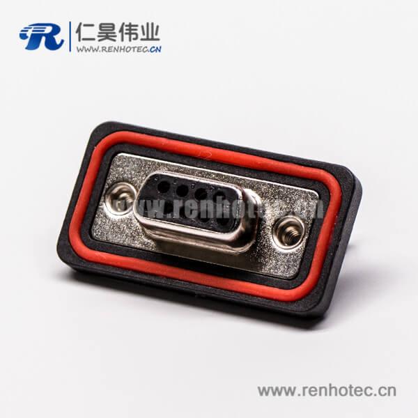 db9防水插座弯式黑色胶芯车针插孔接pcb板