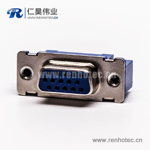 直插式180°db9母头蓝色胶芯子高密度连接器接PCB板