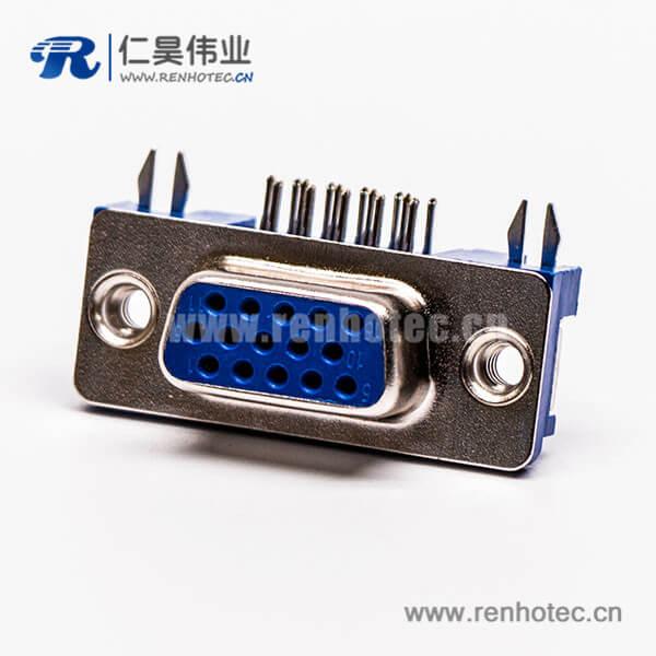 d sub hd15针雌头弯式蓝色胶芯3.08铆锁不带螺丝穿孔