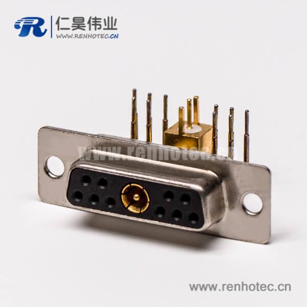 大电流db连接器射频弯式11W1焊板插孔接PCB板母座