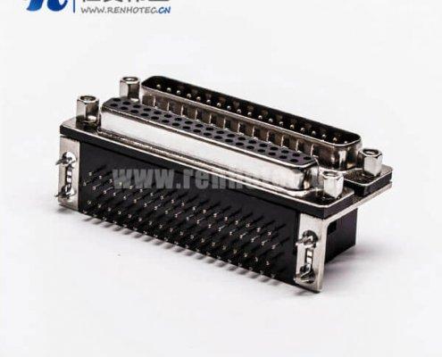 37针 D-Sub 孔型插座CD81型双层公对母弯式连接器接PCB板