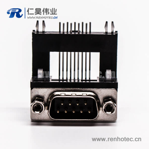 D-Sub 9P公头弯式高架无卤黑胶接PCB板连接器