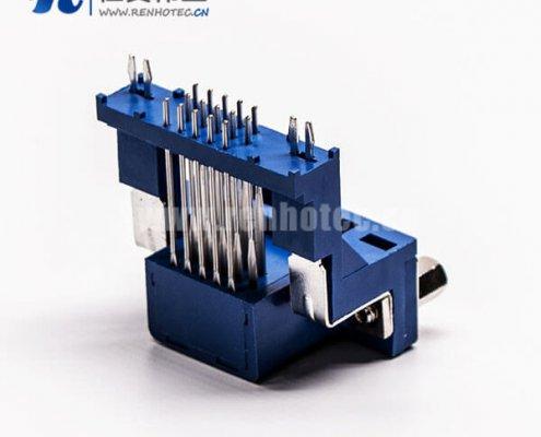 d-sub hd接口弯式母头高架带框单加强筋接pcb板