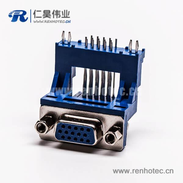 d sub连接器15针母头弯式高架带点双加强筋铆锁蓝色胶芯