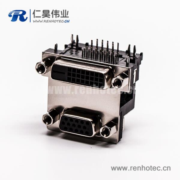 d-sub和dvi双端口连接器母头弯式无控孔5.48mm
