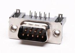 D-Sub 9针公插芯直角穿孔接PCB板连接器