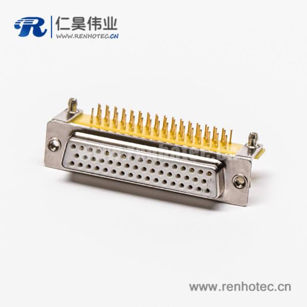 高密度插针db50针母头弯式车针带支架铆锁插孔接PCB板