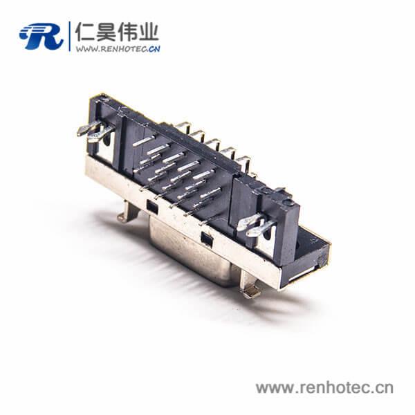 SCSI20HPCN弯式焊接母头插板插座连接器